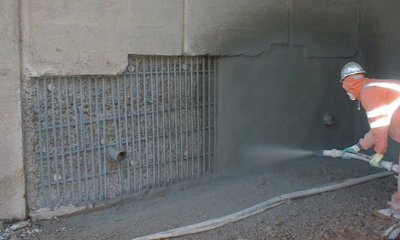 What is the difference between wet and dry sprayed concrete?